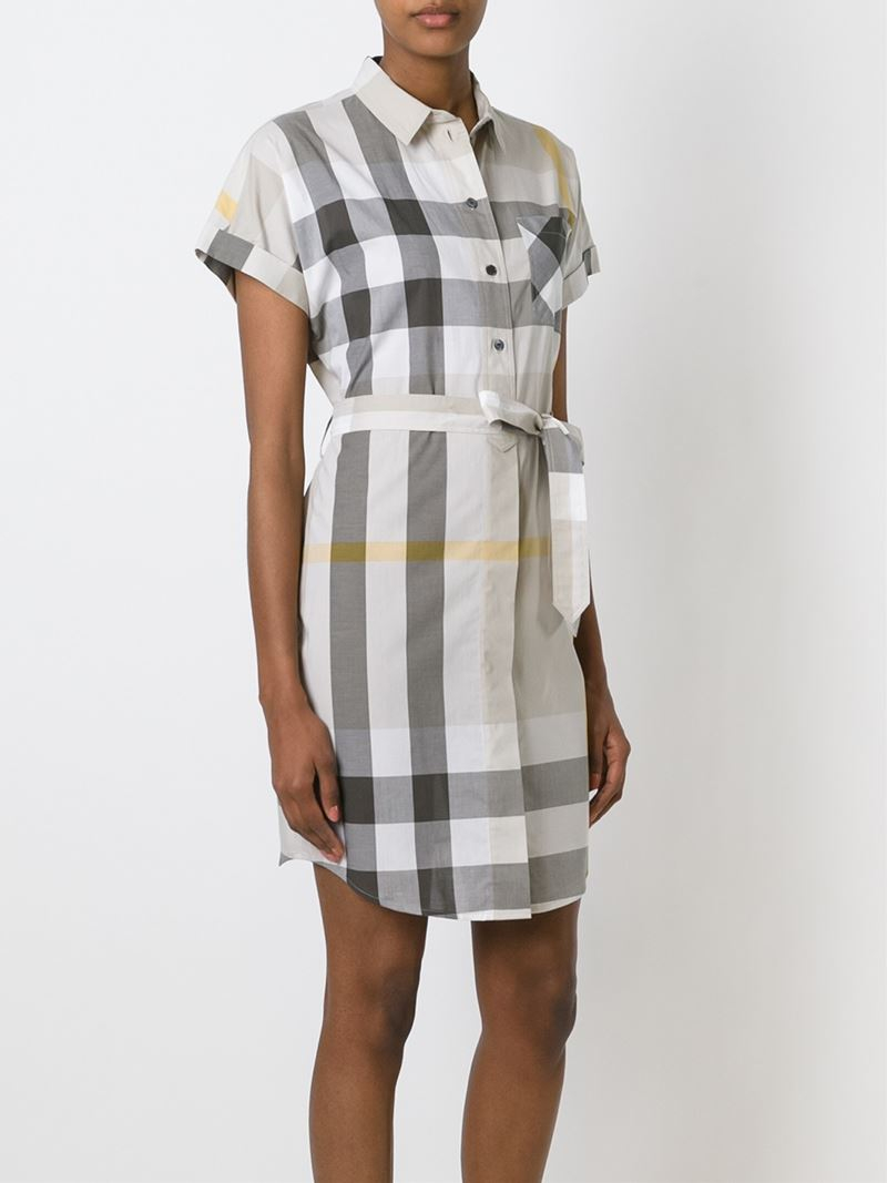 Lyst burberry brit checked shirt dress in gray for Burberry brit checked shirt
