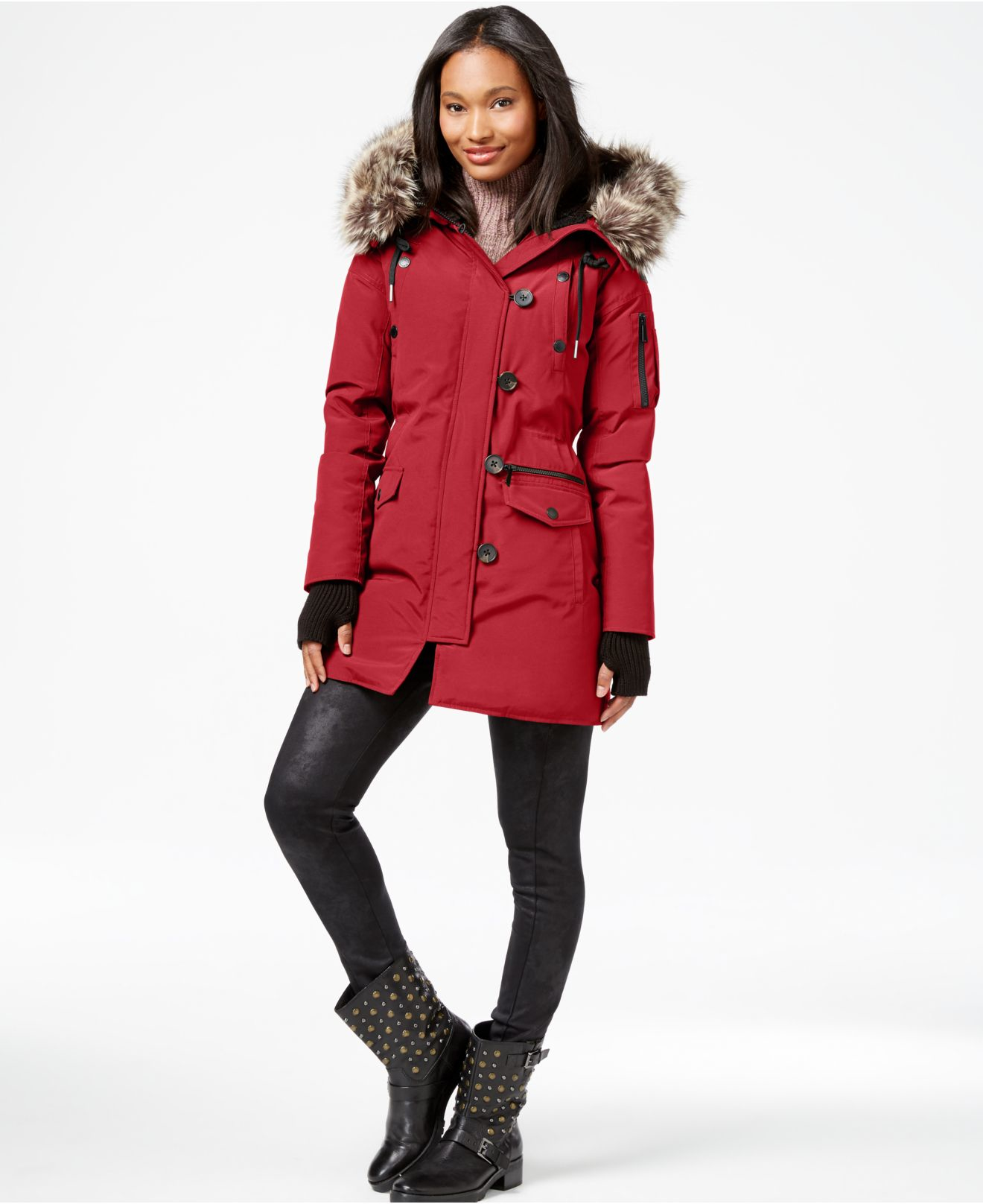 Bcbgeneration Faux-fur-trim Parka Coat in Red | Lyst