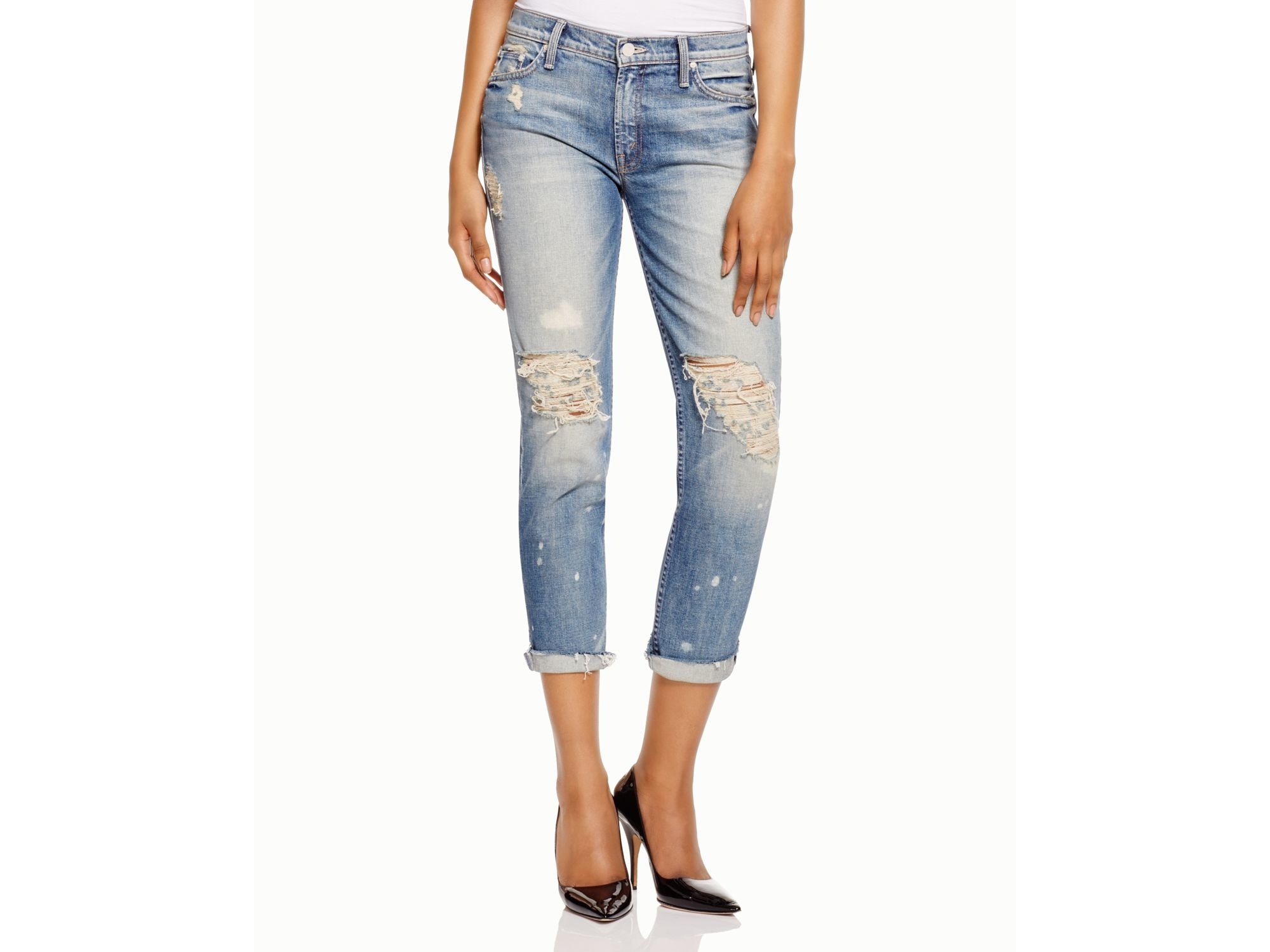 Mother Dropout Distressed Cropped Jeans in Blue | Lyst