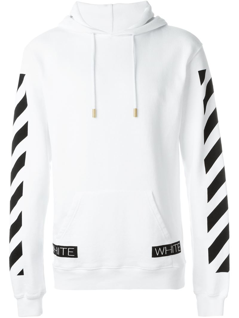 Off-white c/o virgil abloh Striped Sleeve Pullover Hoodie in White ...