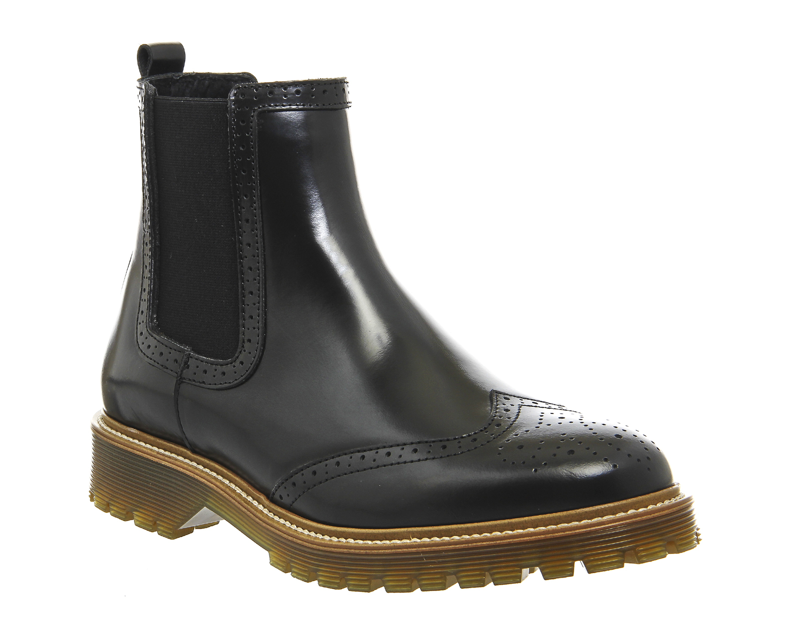 office careless brogue chelsea boots in black for lyst