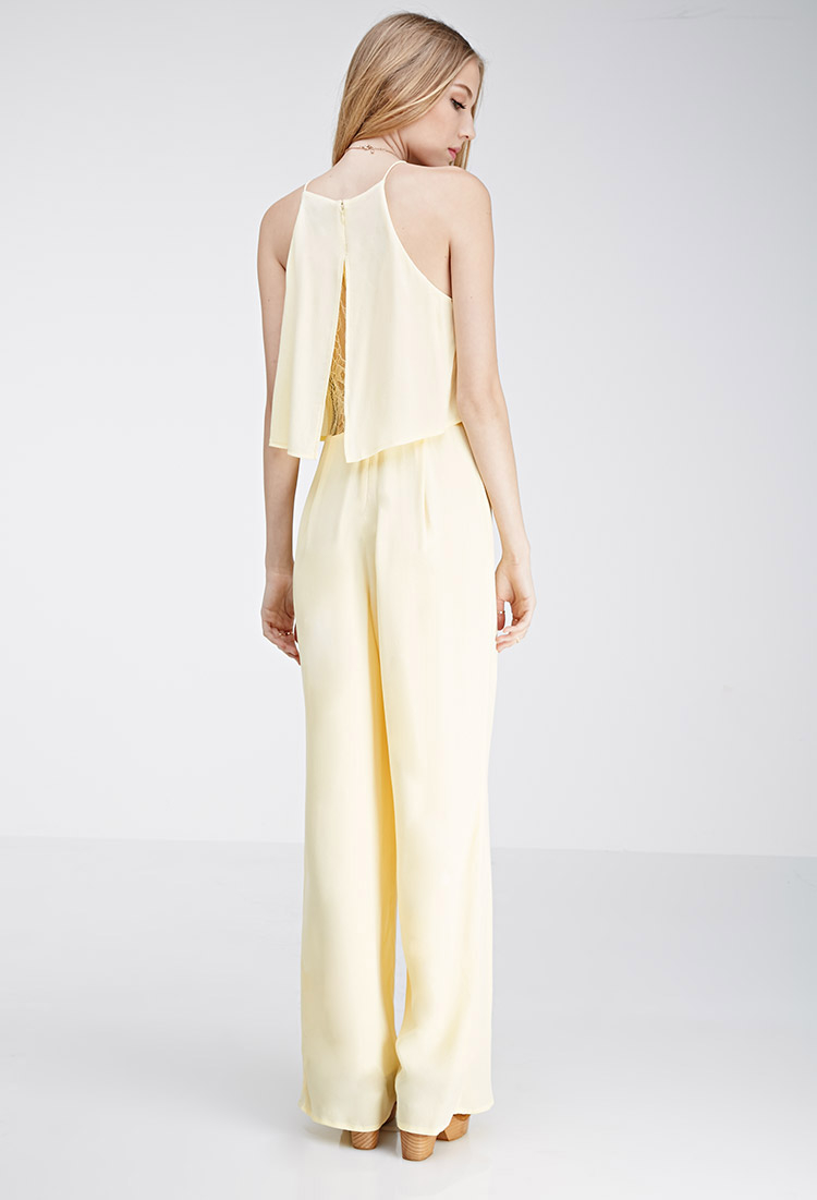 Lyst Forever 21 Layered Lace Paneled Jumpsuit In Yellow