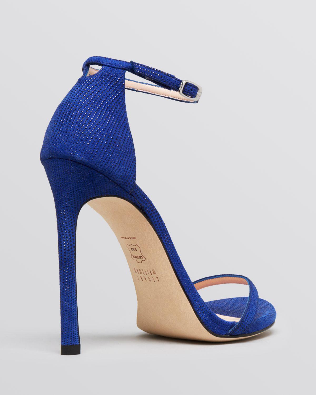 Lyst - Stuart weitzman Ankle Strap Sandals - Nudist High Heel ...