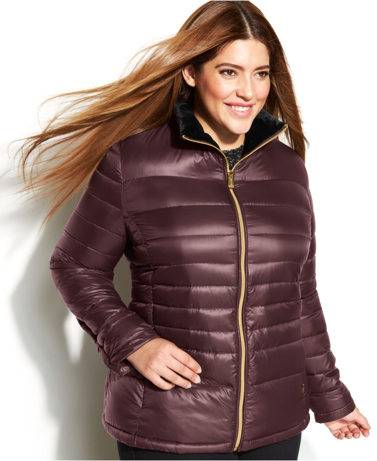 2bb544b6b84 Lyst - Calvin Klein Plus Size Quilted Packable Down Puffer Coat in ...