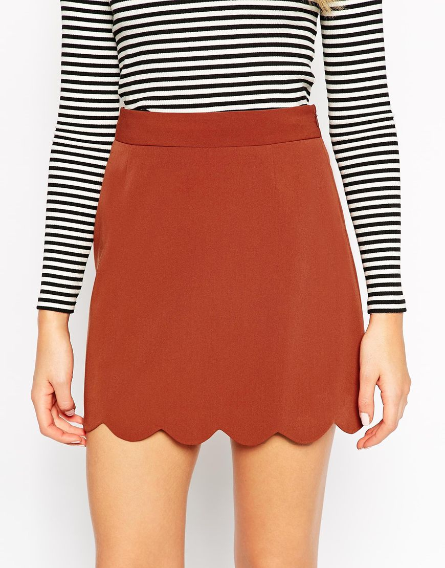 Asos A-line Mini Skirt With Scallop Hem in Brown | Lyst
