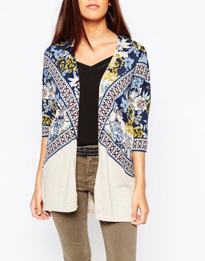 Warehouse Border Print Kimono Cardigan | Lyst
