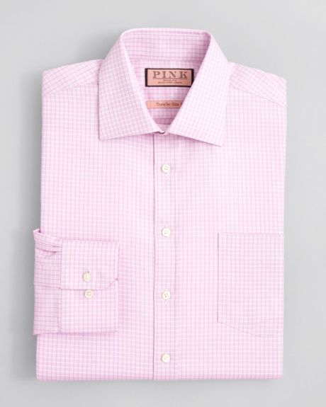 Thomas Pink Aiello Check Dress Shirt Contemporary Fit In