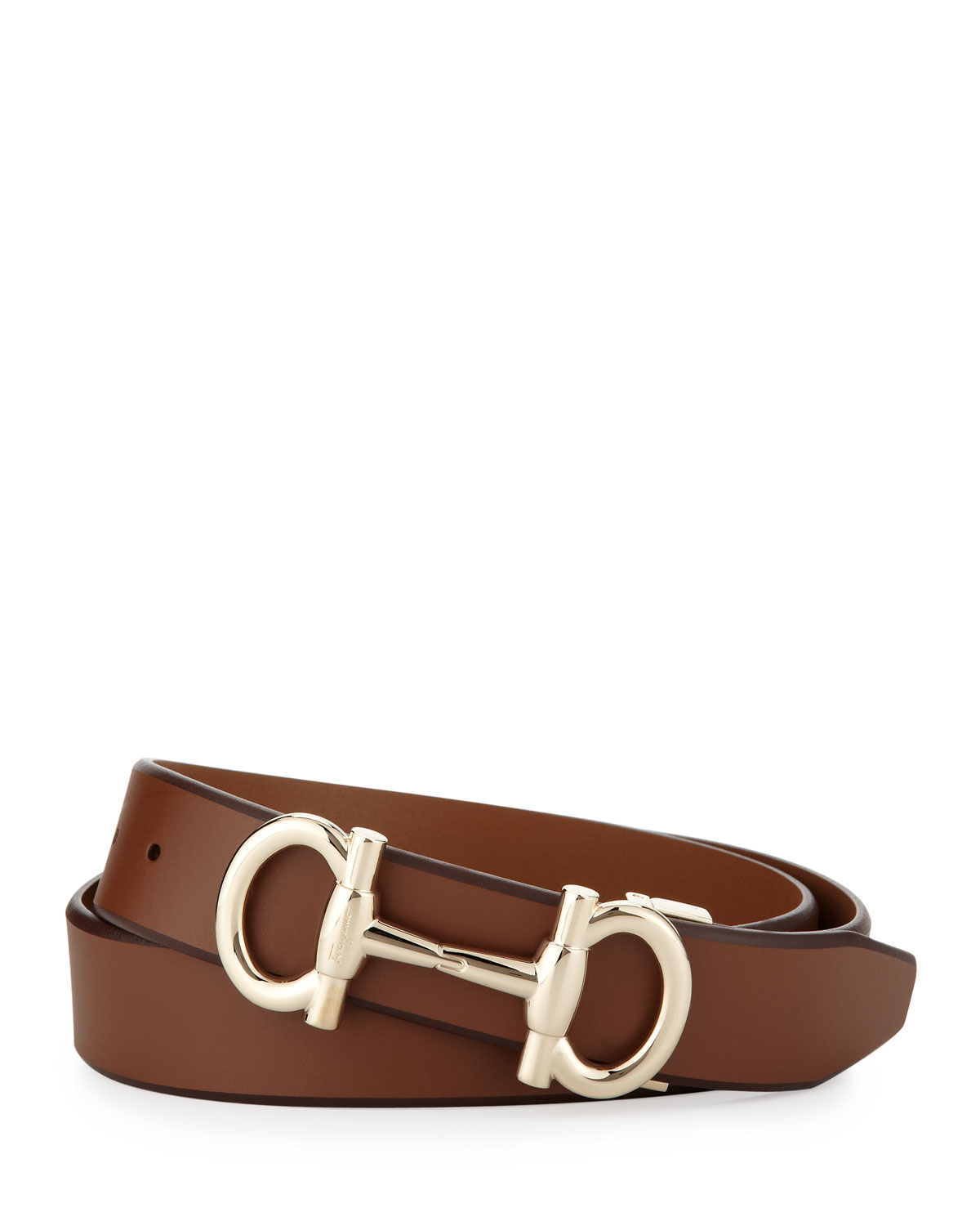 ferragamo gancini bit leather belt in brown for lyst