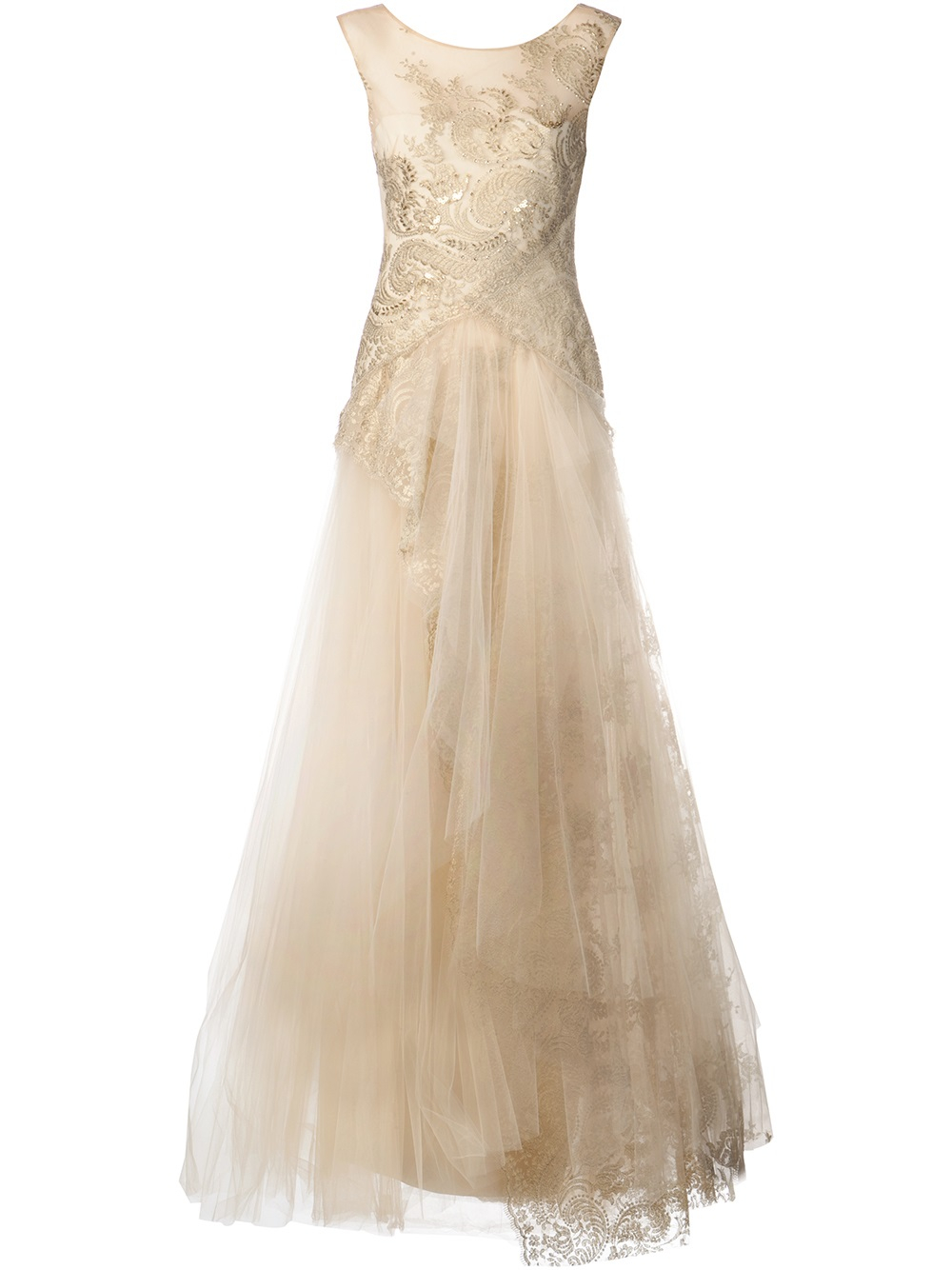 Lyst Notte By Marchesa Lace Tulle Skirt Gown In Metallic