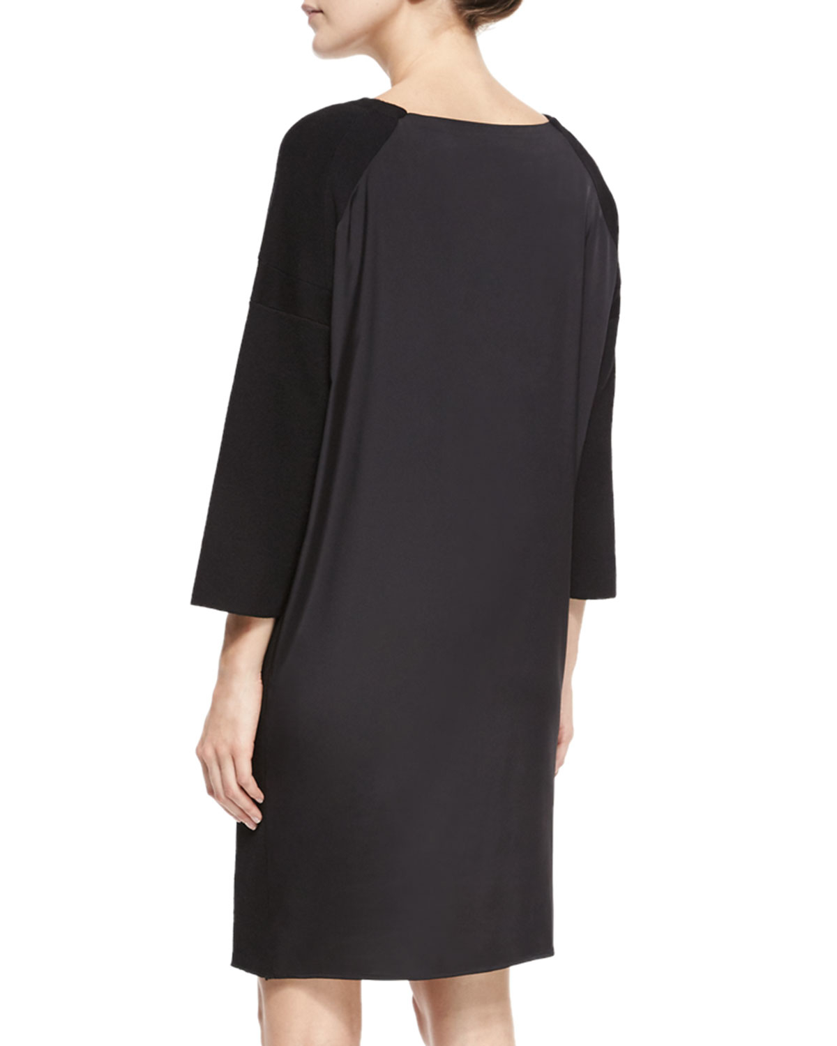 02b64f03229 Lyst - Vince Ribbed Knit Cowl-Neck Sweaterdress in Black