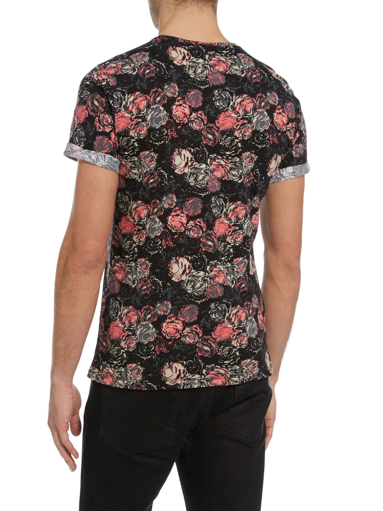 Casual friday print crew neck slim fit t shirt in black for Black friday dress shirts
