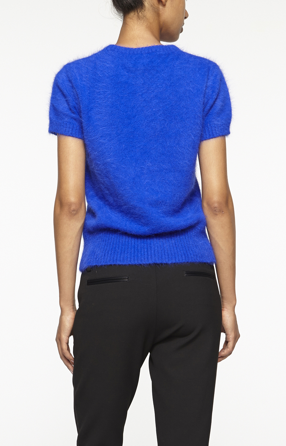 Nicole miller Angora Short Sleeve Sweater in Blue | Lyst