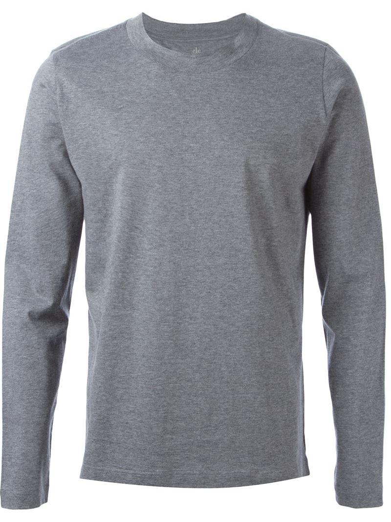 Eleventy long sleeve t shirt in gray for men grey lyst for Grey long sleeve shirts