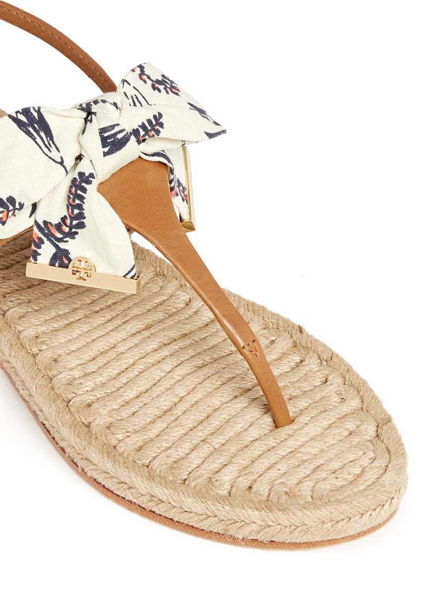 a7c952c1db6 Tory Burch  penny  Floral Print Canvas Bow Espadrille Sandals in Brown -  Lyst