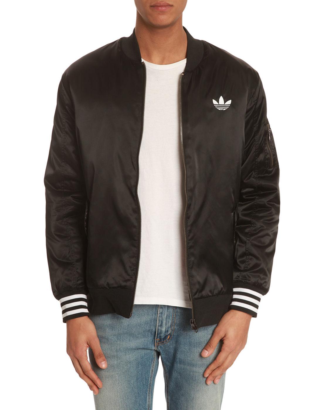 Adidas Black Nylon Bomber Jacket In Black For Men Lyst