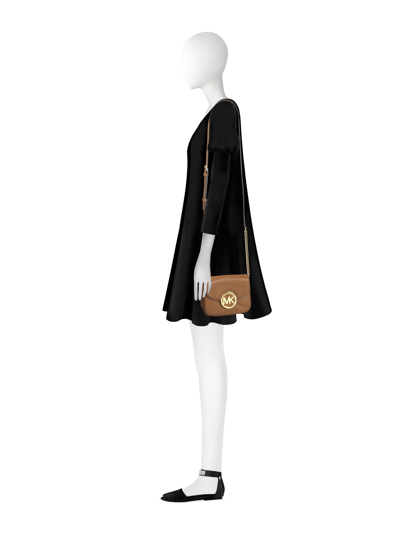 3c4ccf8e1d390f Michael Kors Fulton Luggage Leather Small Crossbody Bag in Metallic ...