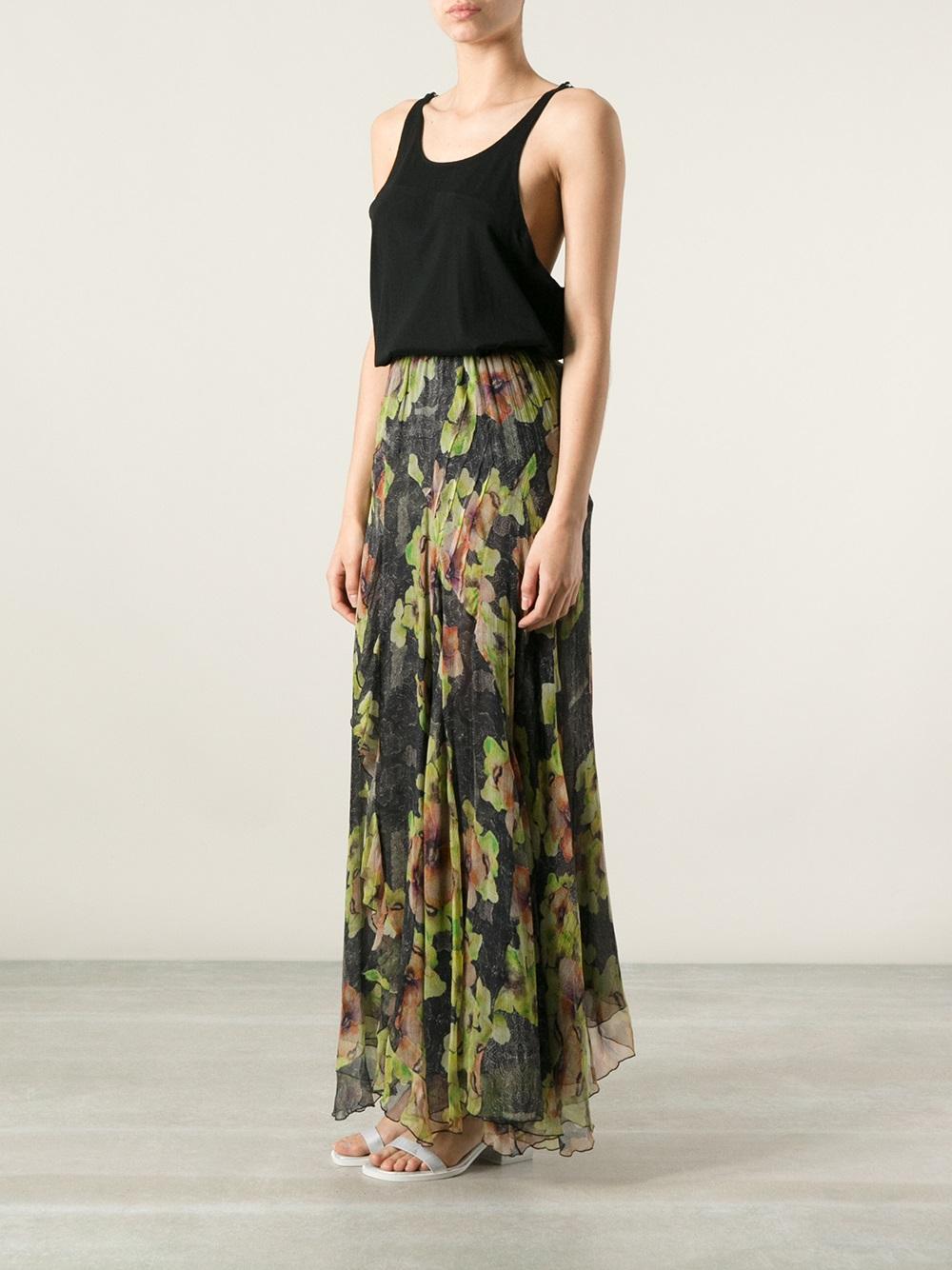 fe84fce68 Isabel Marant Floral Print Maxi Skirt in Black - Lyst