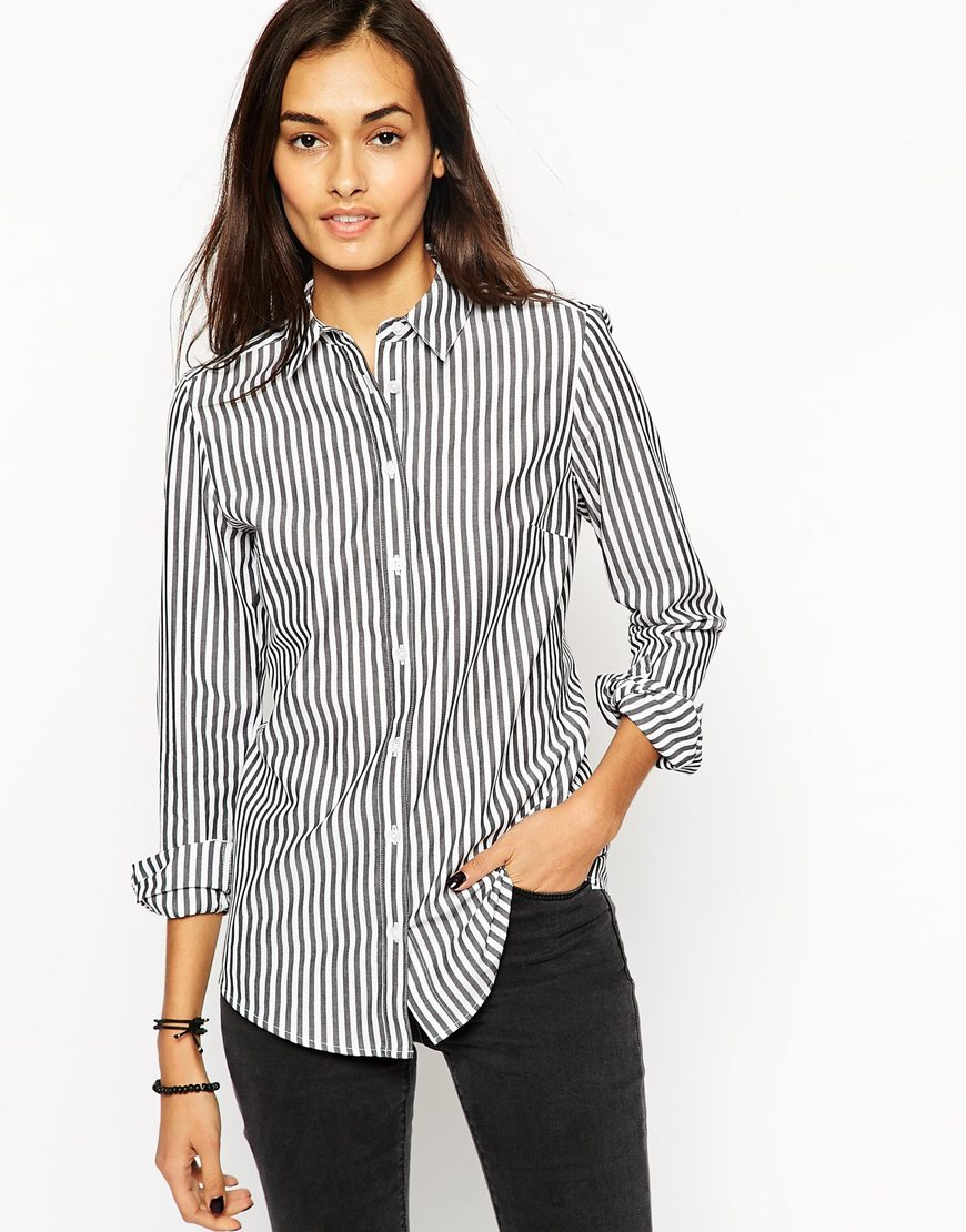Lyst asos long sleeve black and white stripe fitted for Black and white striped long sleeve shirt women