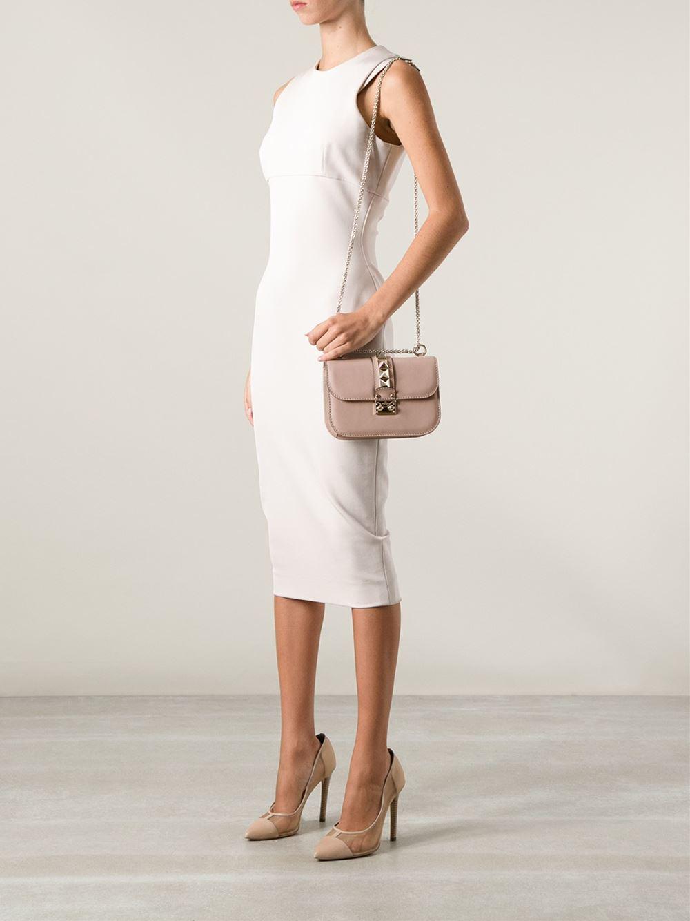 Lyst Valentino Rockstud Leather Shoulder Bag In Natural