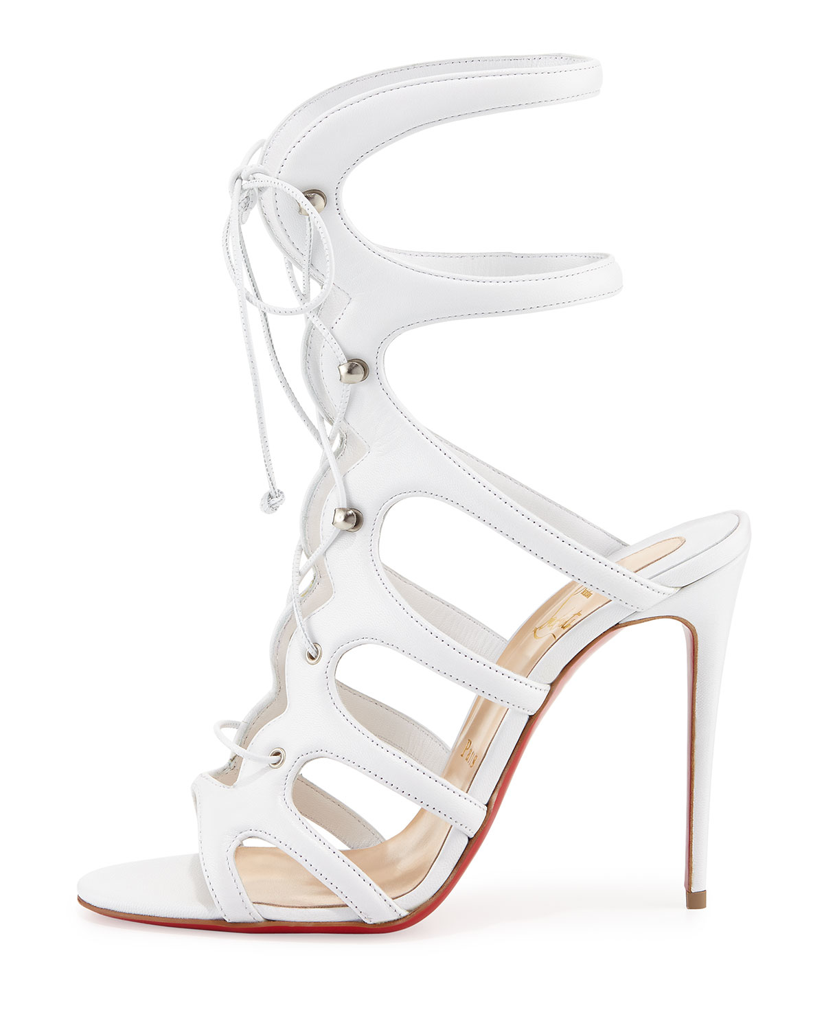 louboutin shoe price - Christian louboutin Amazoula Lace-up Red Sole Sandal in White | Lyst
