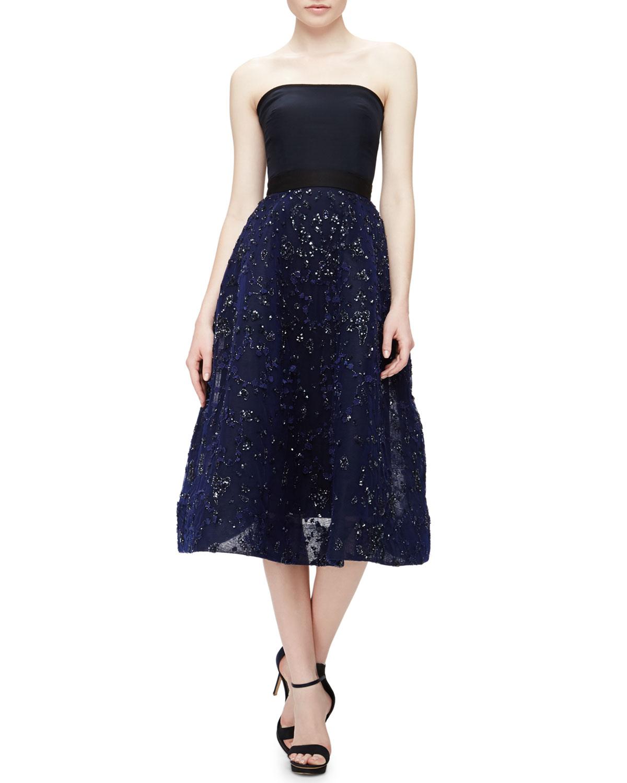 lhuillier strapless beaded tulle tea length dress