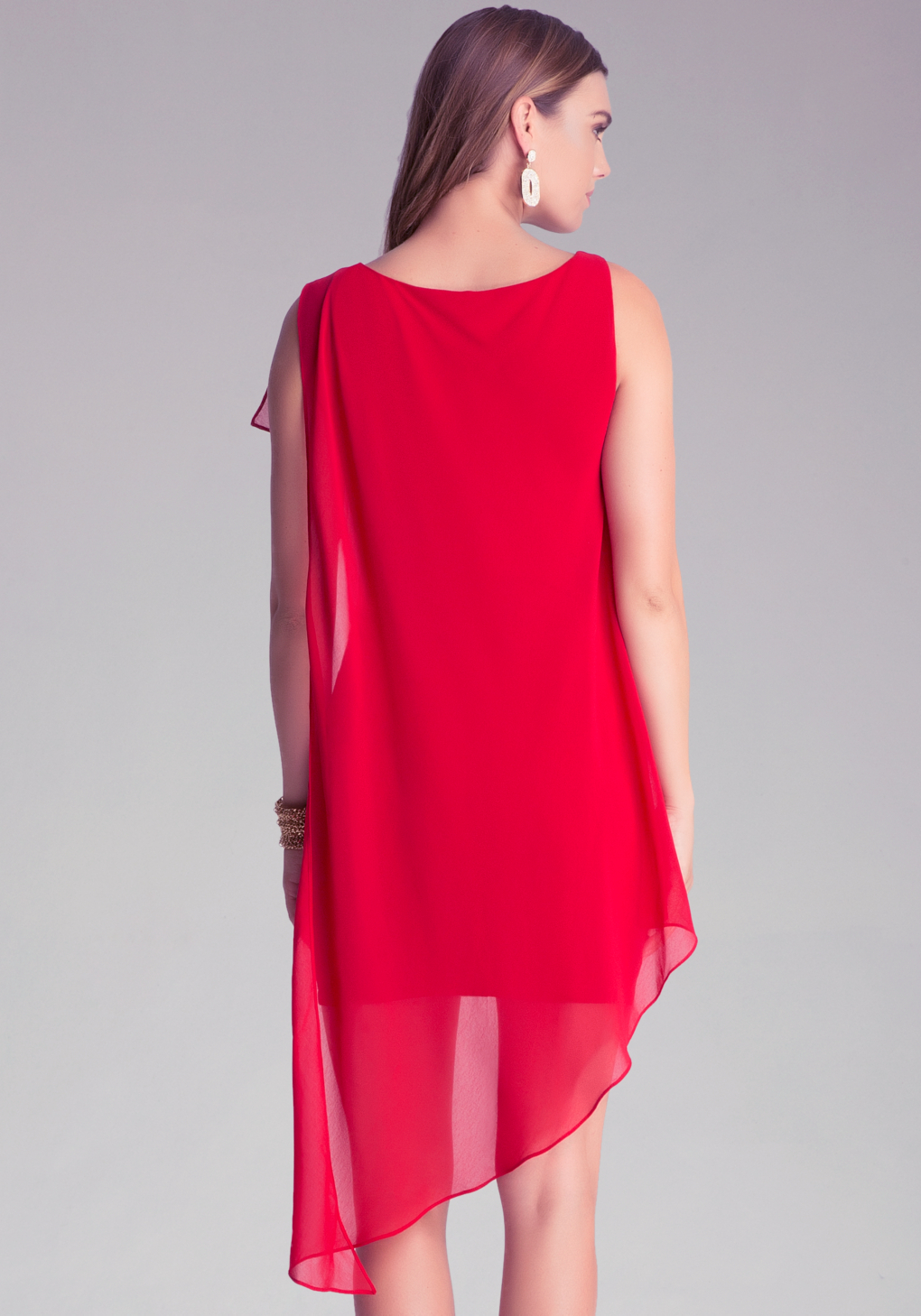 Lyst bebe asymmetric drape dress in red for Bebe dresses wedding guest