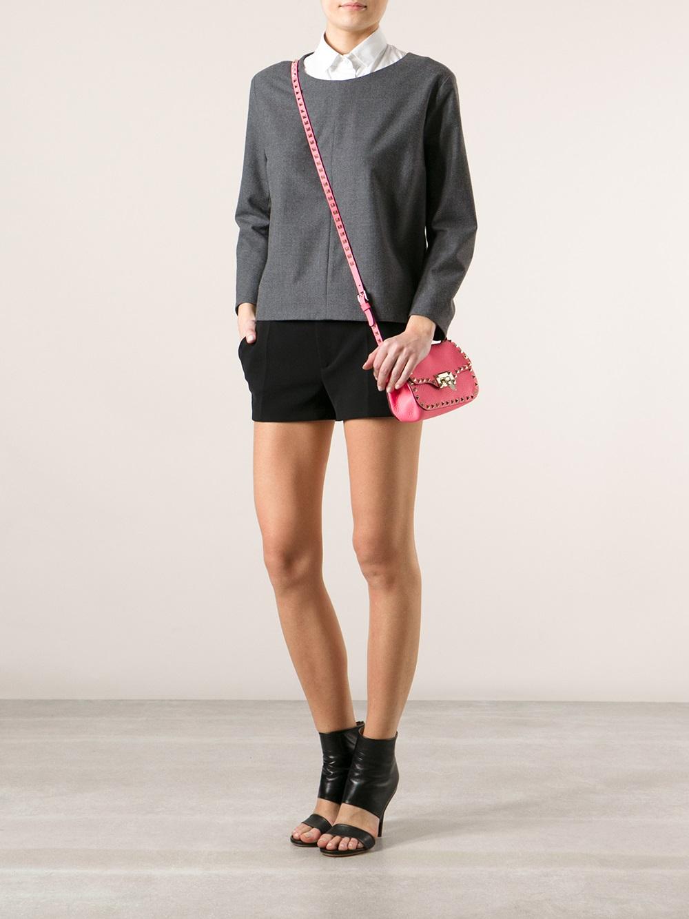 df7e1de630 Valentino Rockstud Mini Cross Body Bag in Pink - Lyst