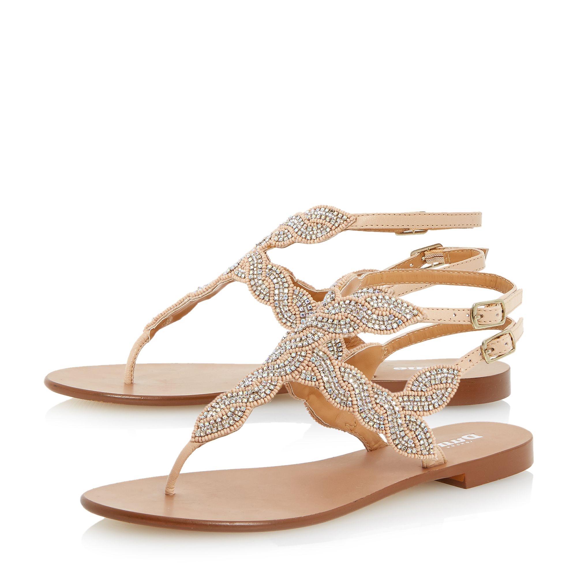 Dune Karper Leather Beaded Toe Post Sandals In Natural Lyst
