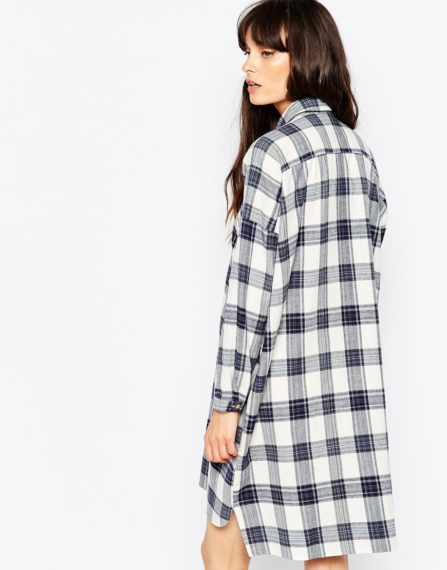 Lyst asos chuck on check shirt dress blue check in blue for Blue check dress shirt