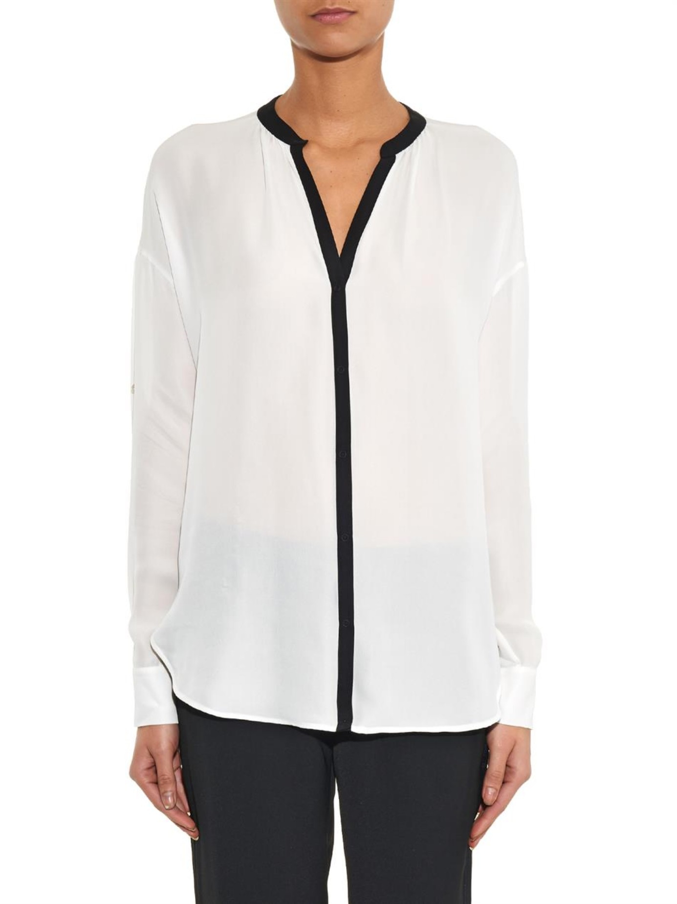 Lyst Vince Contrast Trim Silk Blouse In White