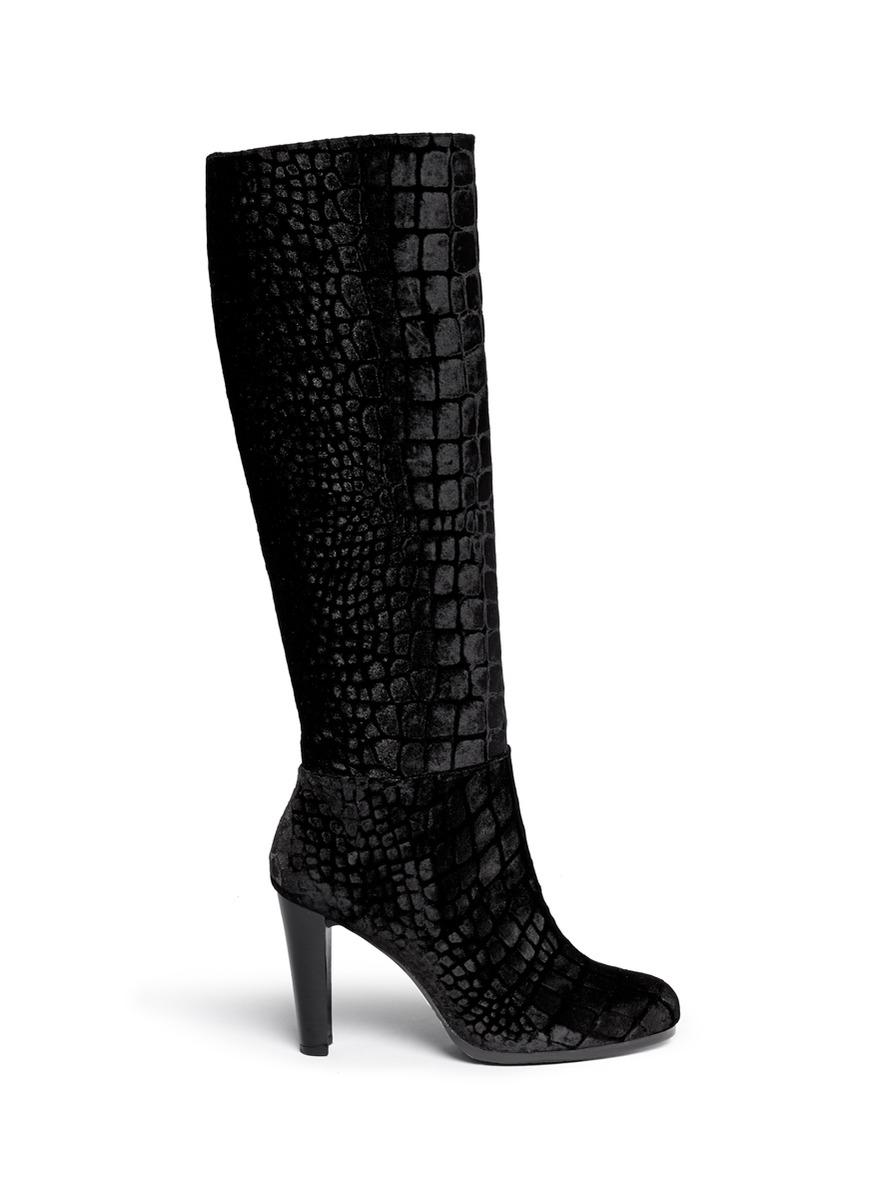 stuart weitzman nohitrack croc embossed velvet knee high