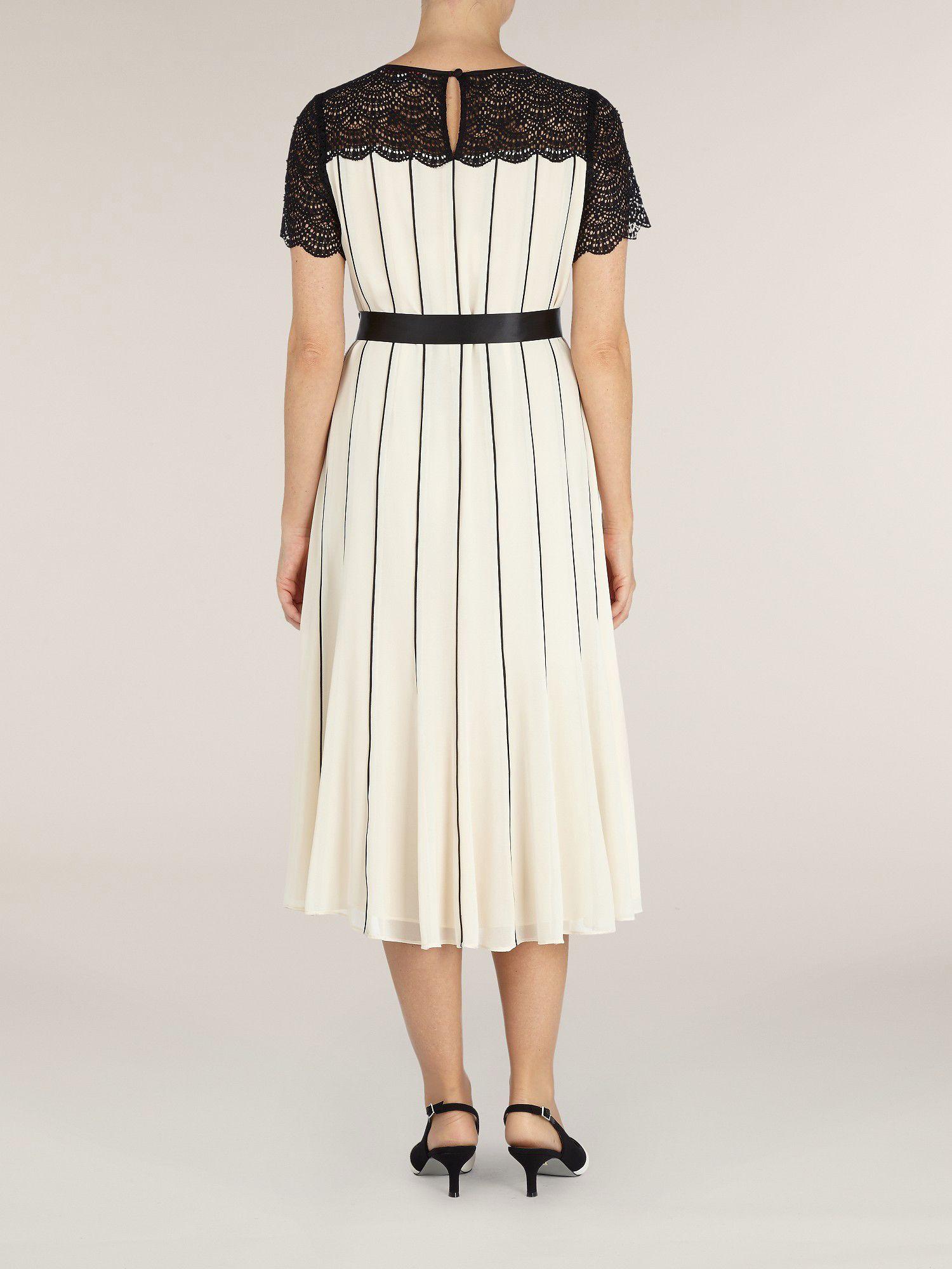 Lyst Jacques Vert Chiffon Dress In Natural