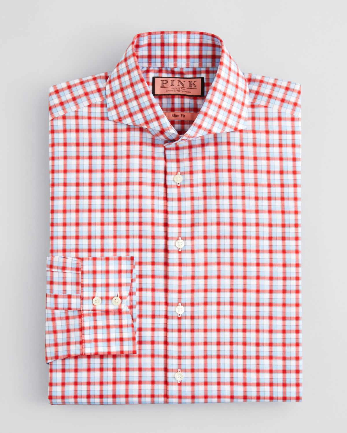 Thomas pink Gilham Check Dress Shirt - Regular Fit in Red for Men ...