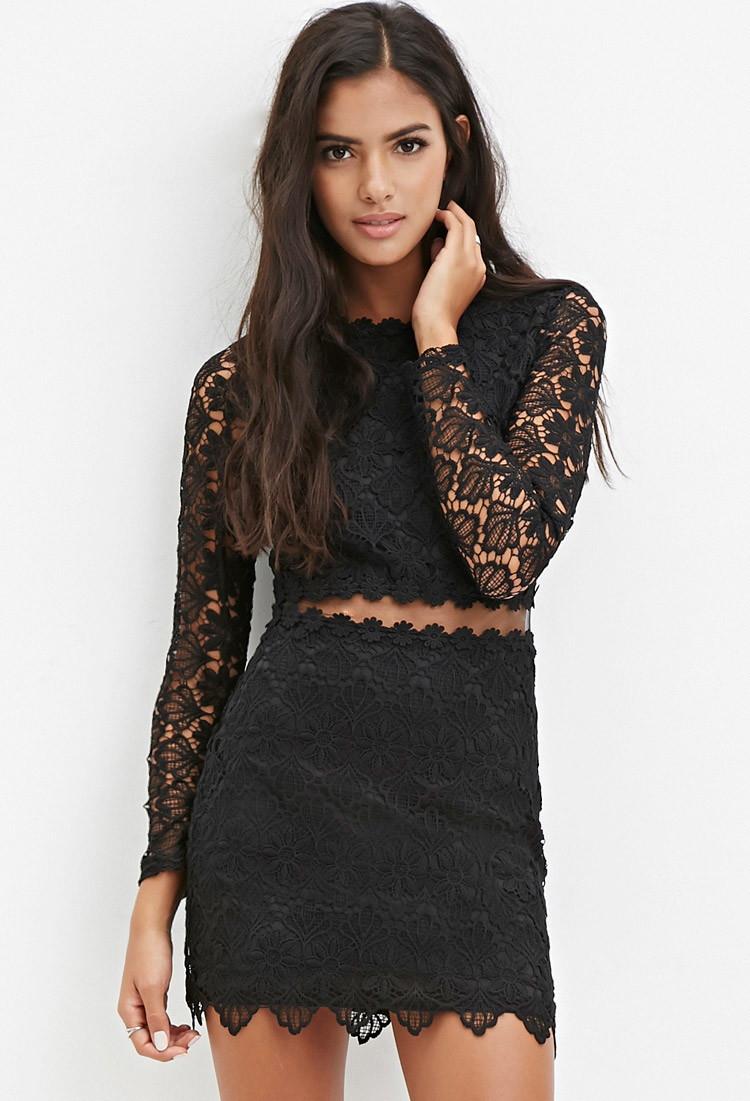 Black lace mini dress forever 21