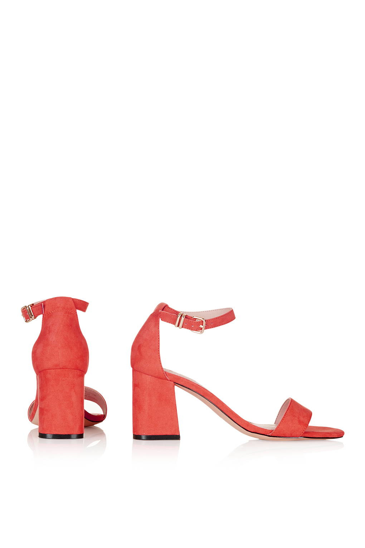 64d94fc129c335 Lyst - TOPSHOP Noodle Mid Heel Two-part Sandals in White