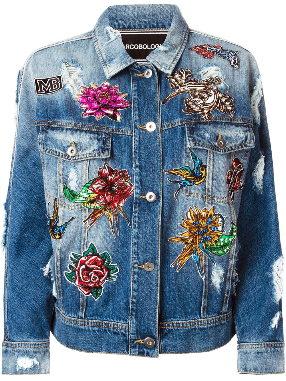Lyst Marco Bologna Embroidered Distressed Denim Jacket In Blue