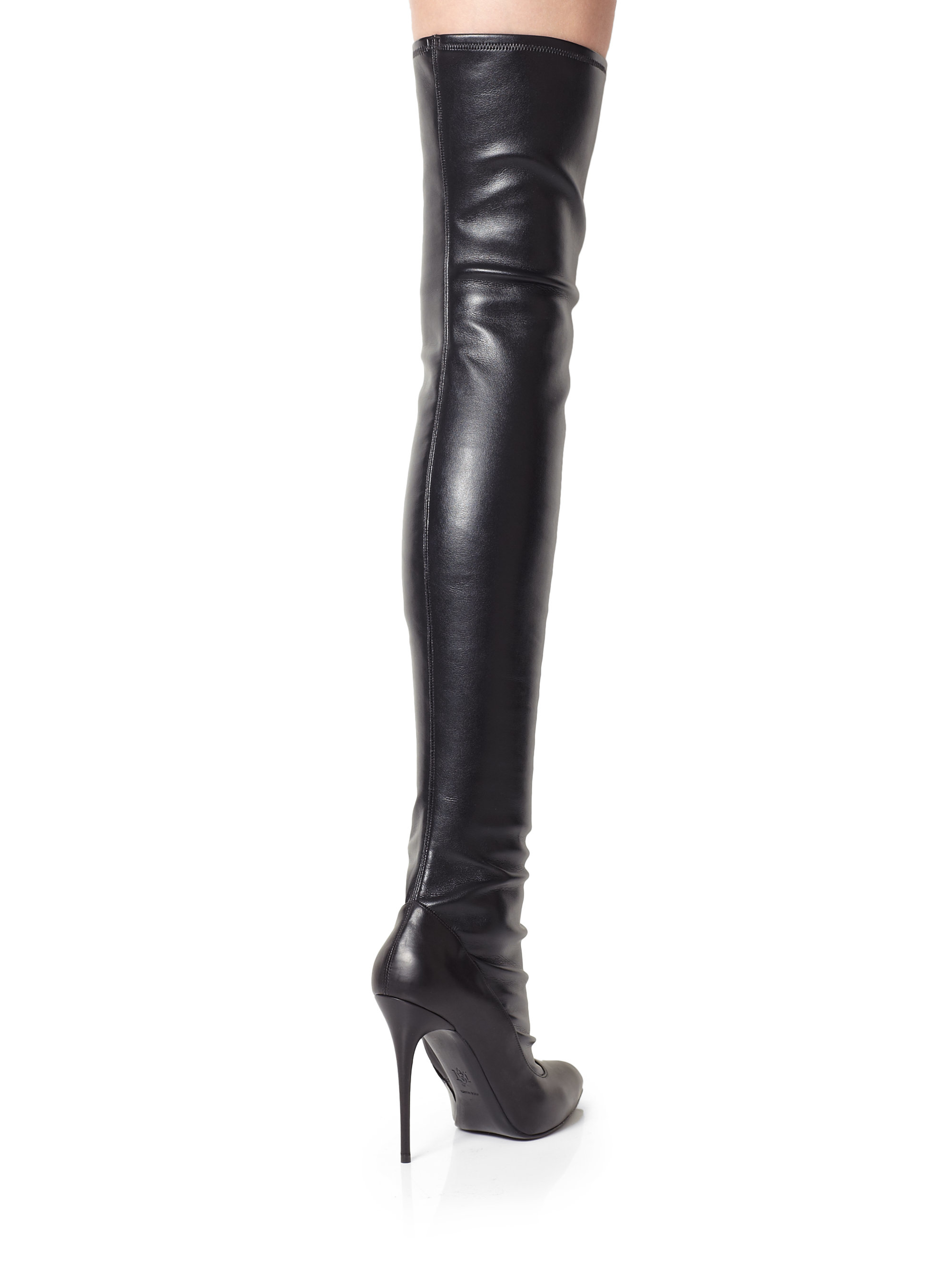 Alexander mcqueen Over-the-knee Stretch Leather Boots in Black | Lyst