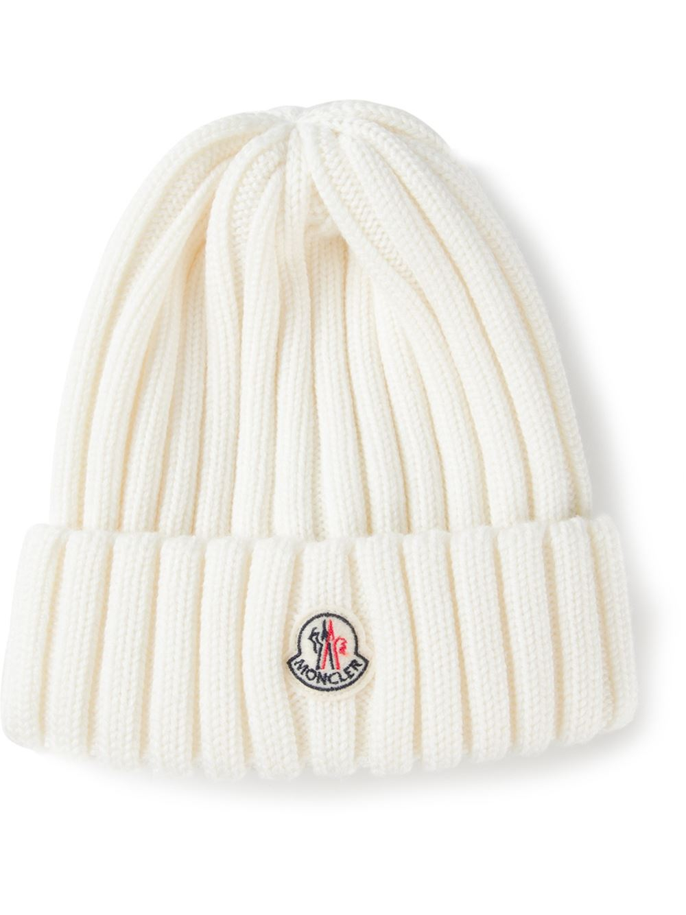 Lyst - Moncler Ribbed Beanie in White 2526bf0ab15