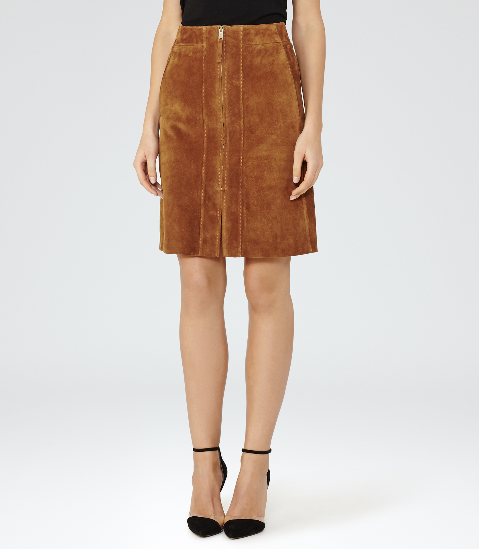 Reiss Joss Suede A-line Skirt in Brown | Lyst