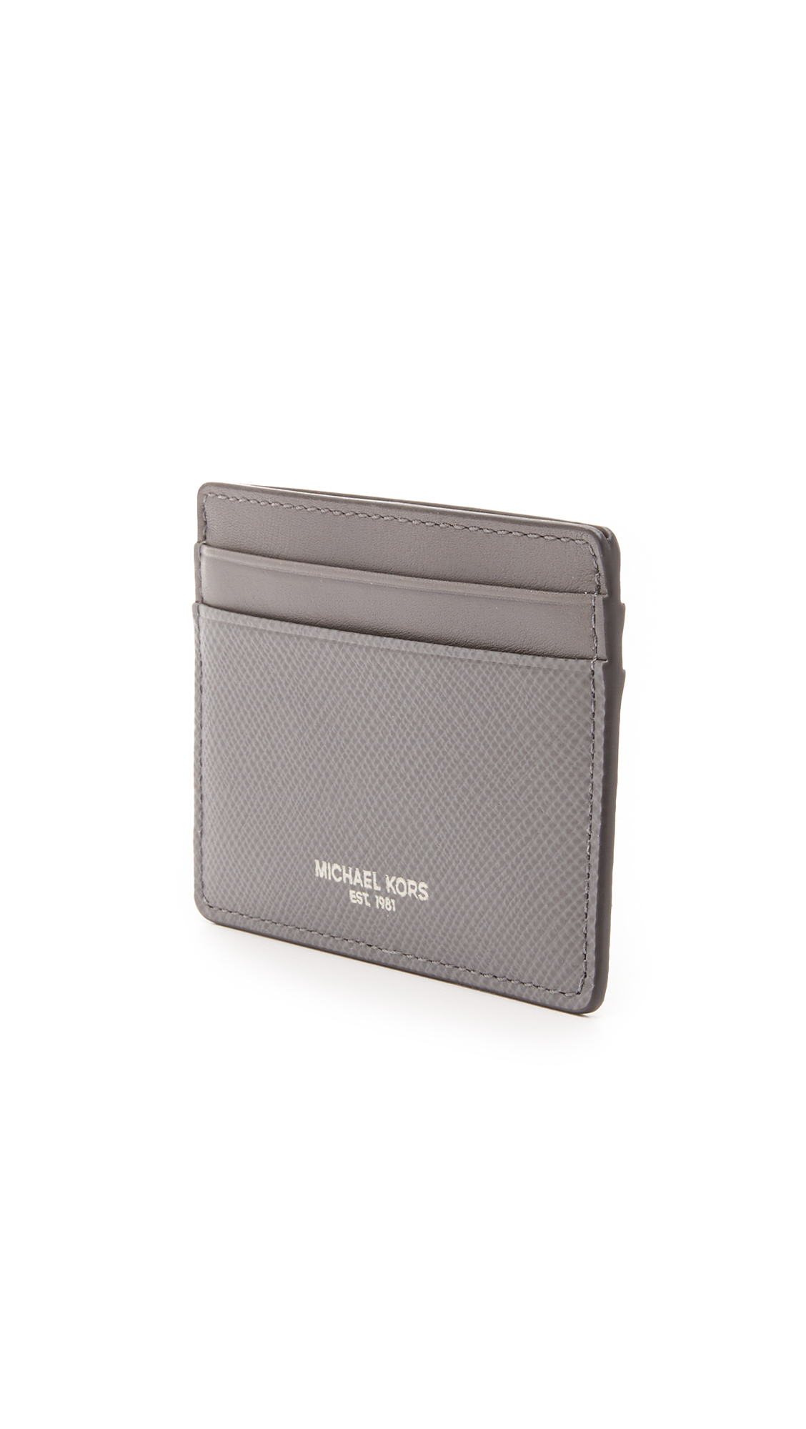 eb27b2af0ba Lyst - Michael Kors Harrison Leather Card Case in Gray for Men