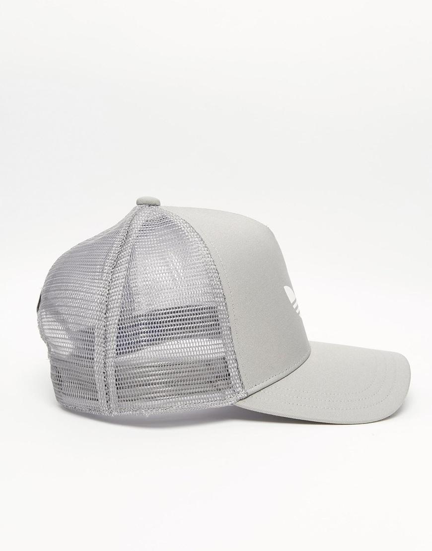 8c9bc658d24 ... trefoil cap grey white 2d796 2d76d  where can i buy lyst adidas  originals trucker cap in gray for men b162b 984f0