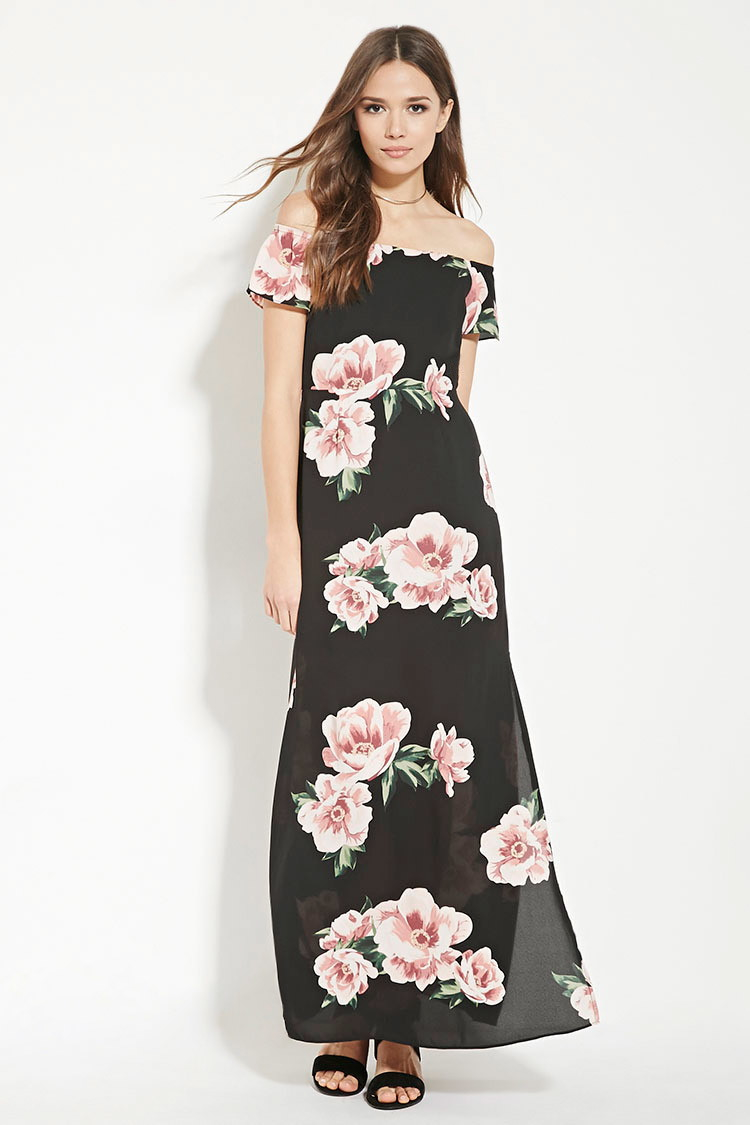 baaff72148 Lyst - Forever 21 Contemporary Floral Maxi Dress in Black