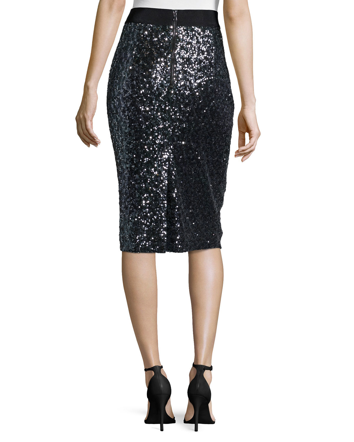 Milly Stretch Sequined Midi Skirt In Black Lyst
