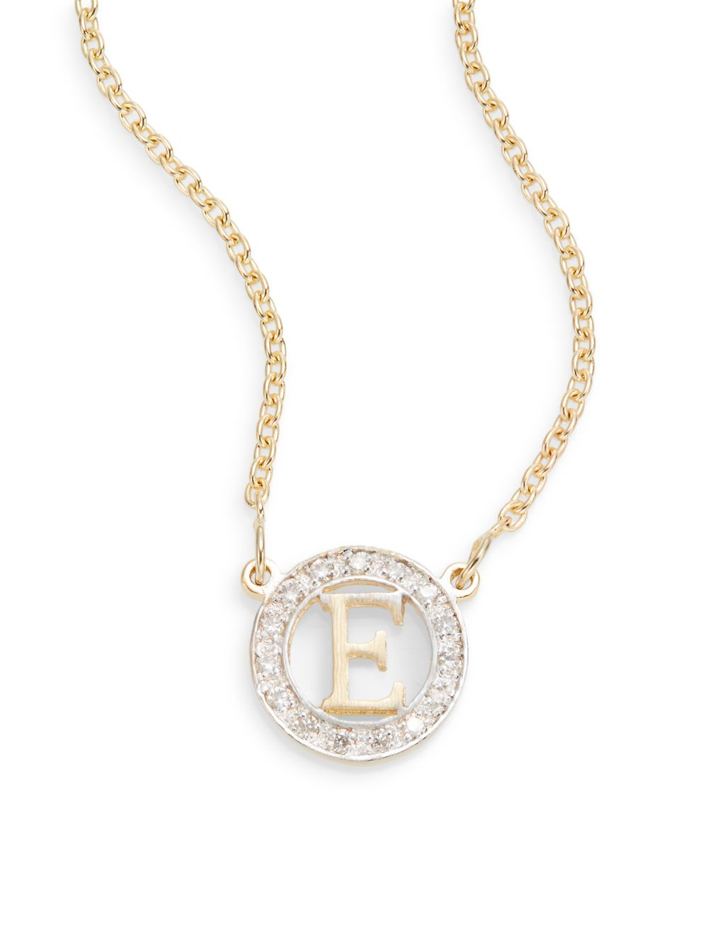 Lyst kacey k diamond 14k gold e small initial necklace in metallic gallery mozeypictures Image collections