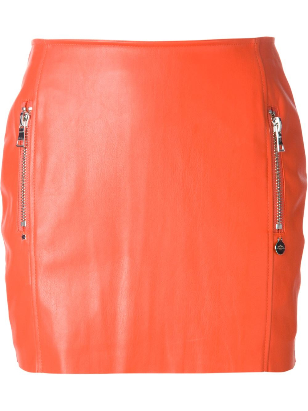 urbancode faux leather skirt in orange lyst