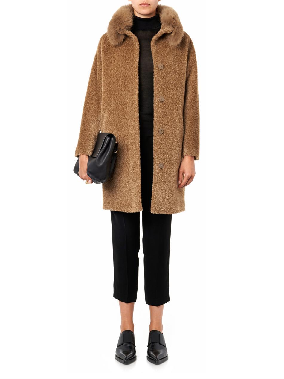 Lyst Max Mara Studio Kriss Coat In Brown