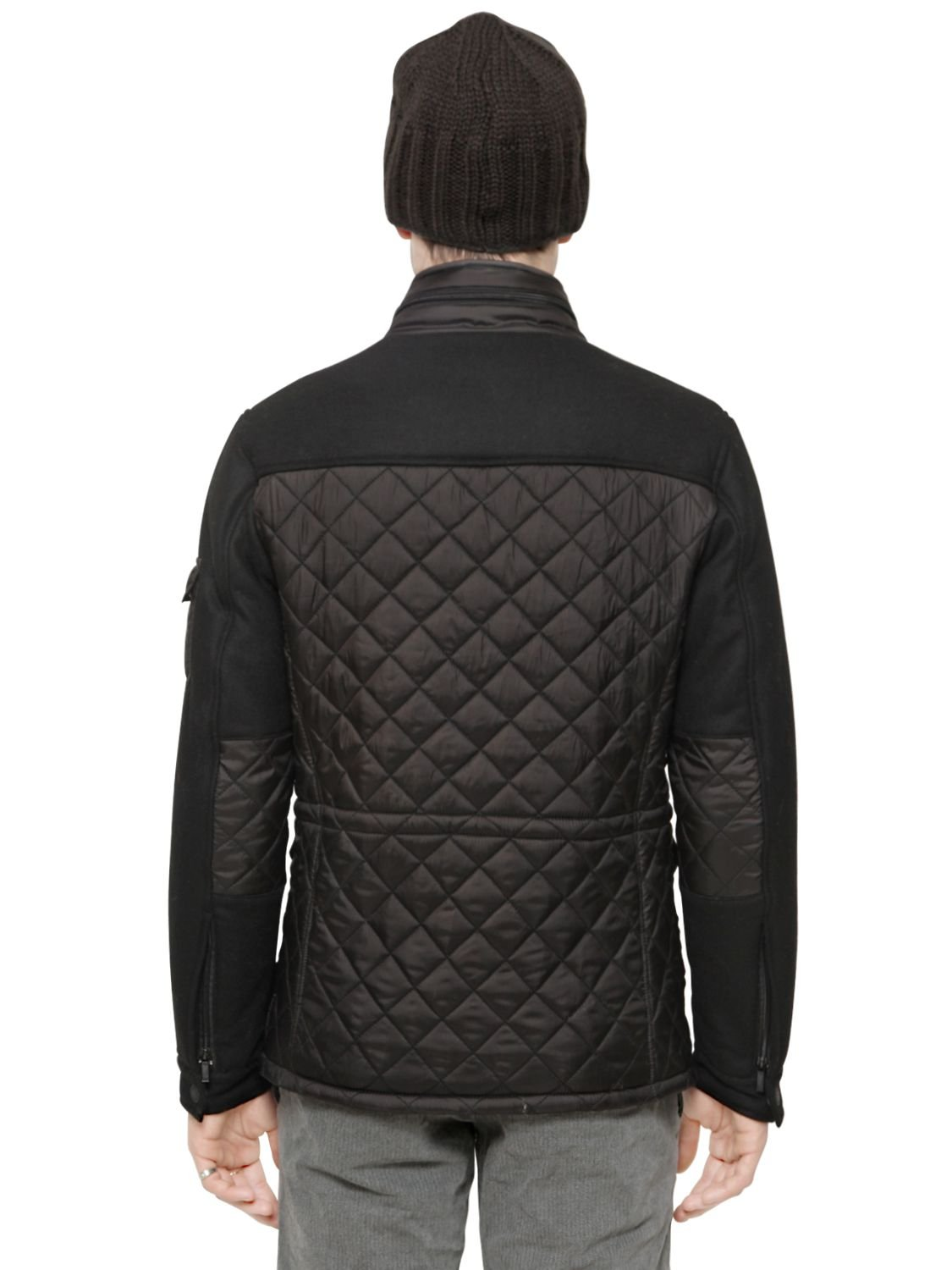 Armani jeans Quilted Nylon & Flannel Puffer Jacket in Black for ... : armani jeans quilted jacket - Adamdwight.com