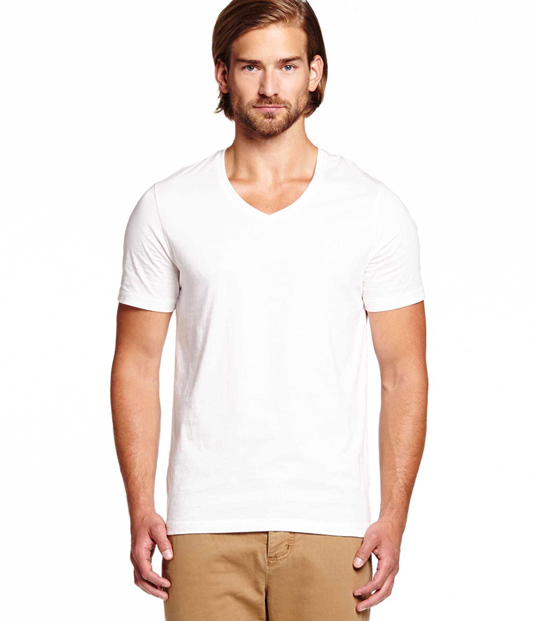 Michael stars pacific short sleeve v neck tee in white for for Michael stars tee shirts