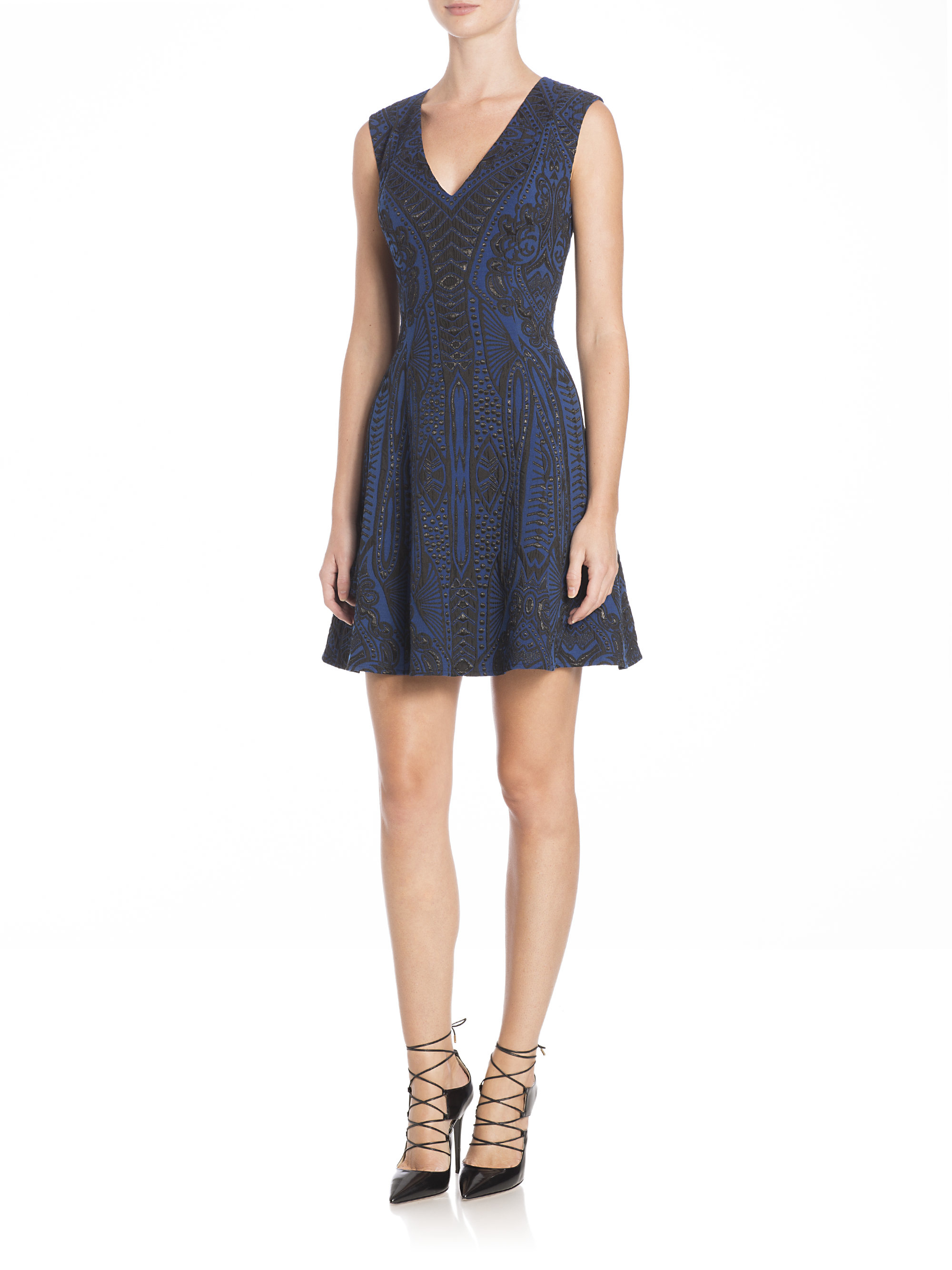57ad114e743 BCBGMAXAZRIA Hannelli Jacquard Fit- -flare Dress in Blue - Lyst