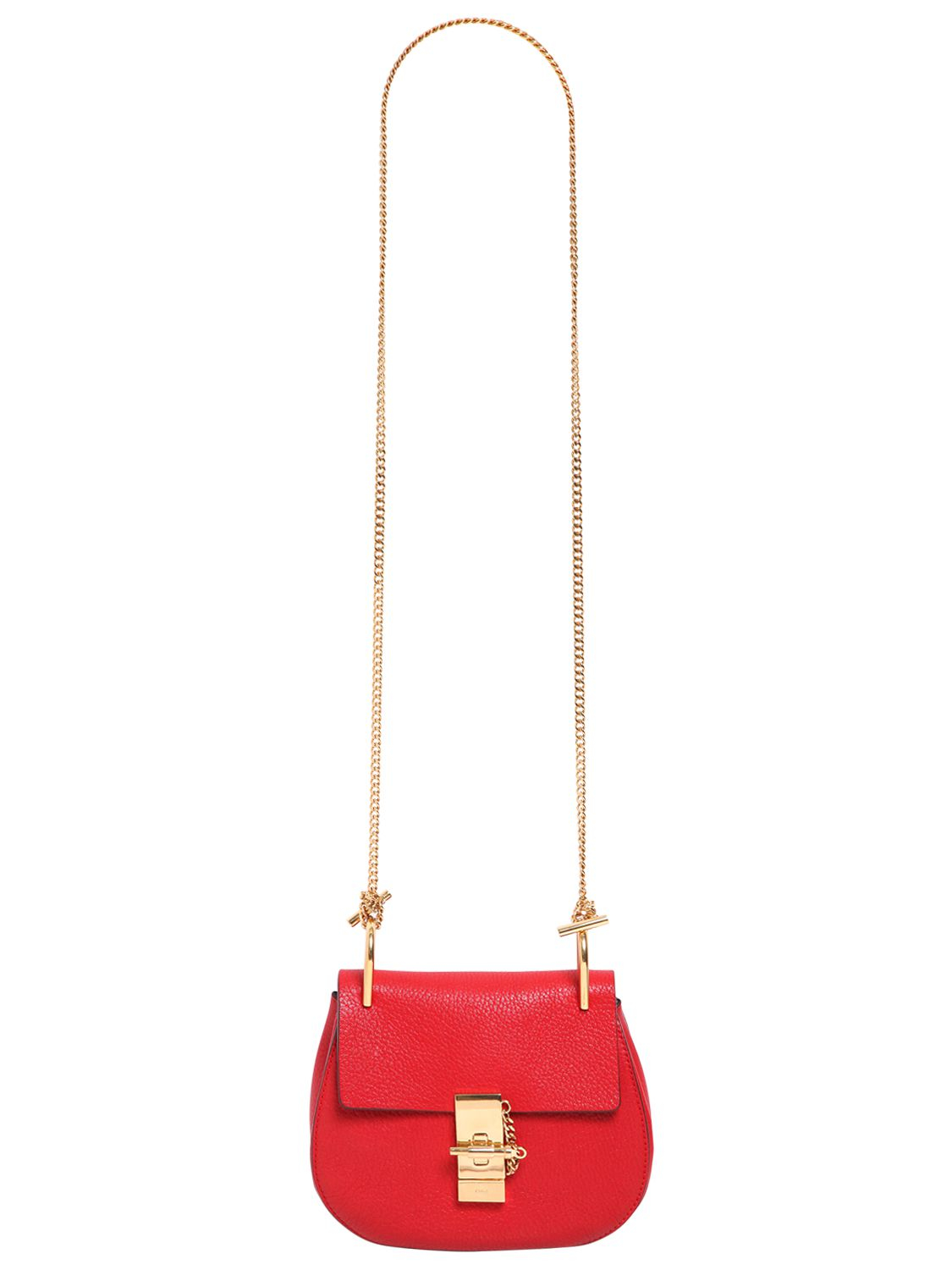 Chlo¨¦ Mini Drew Grained Nappa Leather Bag in Red (PLAID RED) | Lyst